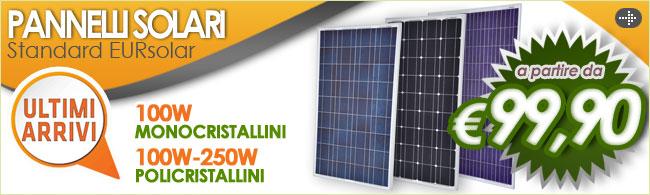 Pannelli solari, pannelli fotovoltaici, pannello fotovoltaico 100W, pannelli policristallini, pannelli monocristallini