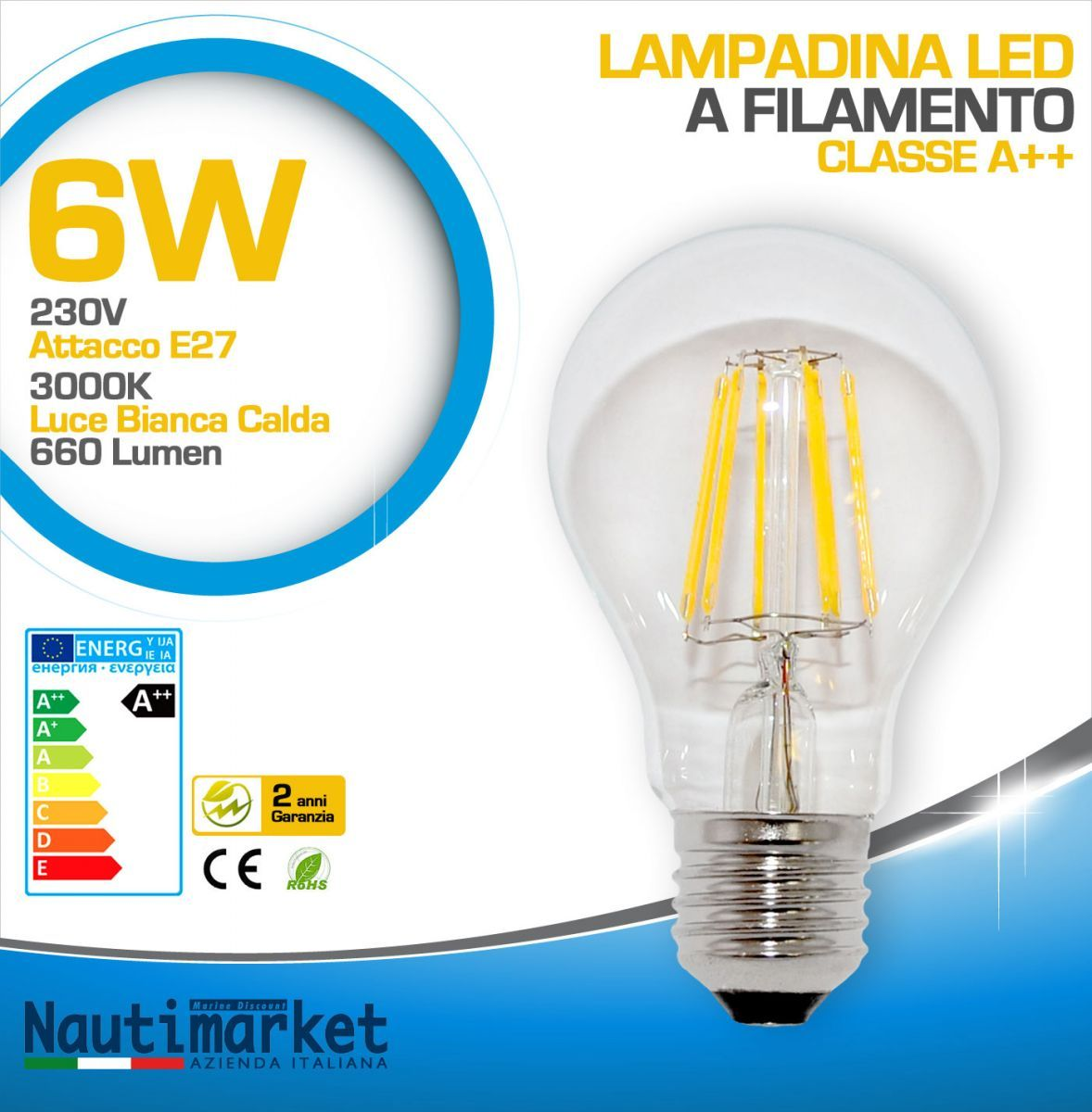 Lampadina led a filamento 6w ac85 265v attacco e27 2700k for Lampadina e27 led