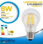 Lampadina LED a Filamento 6W AC85-265V E27 3000K Luce Bianca Calda 660Lm #27561252