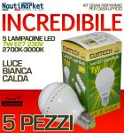 Kit da 5 Lampadine a LED E27 7W 230V 2700K-3000K - Codice: 27561211-5