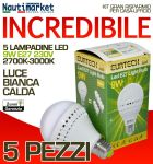 Kit 5 Lampadine a LED E27 9W 230V 2700K-3000K - Codice: 27561213-5