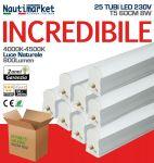 Kit 25 Tubi LED Attacco T5 - 60cm 8W/230V 4500K Luce Naturale - Satinato ≥800 Lm - Codice: 275KIT25X60200