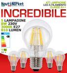 Kit 5 Lampadine LED a filamento 8W 230V Attacco E27 3000K Bianca Calda 810Lm