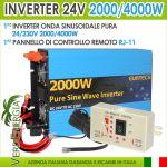 POWER INVERTER 24v 230V 2000W continui 4000 Watt picco Onda Pura x nautica #22022304-5