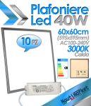 Kit 10pz EURTECK Plafoniera LED Quadrata 60x60cm 40W 230V 3000K #275KIT10X95049