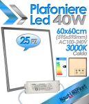 Kit 25 pezzi EURTECK Plafoniera LED Quadrata 60x60cm 40W 230V 3500 lmn 3000K Luce Calda #275KIT25X95049