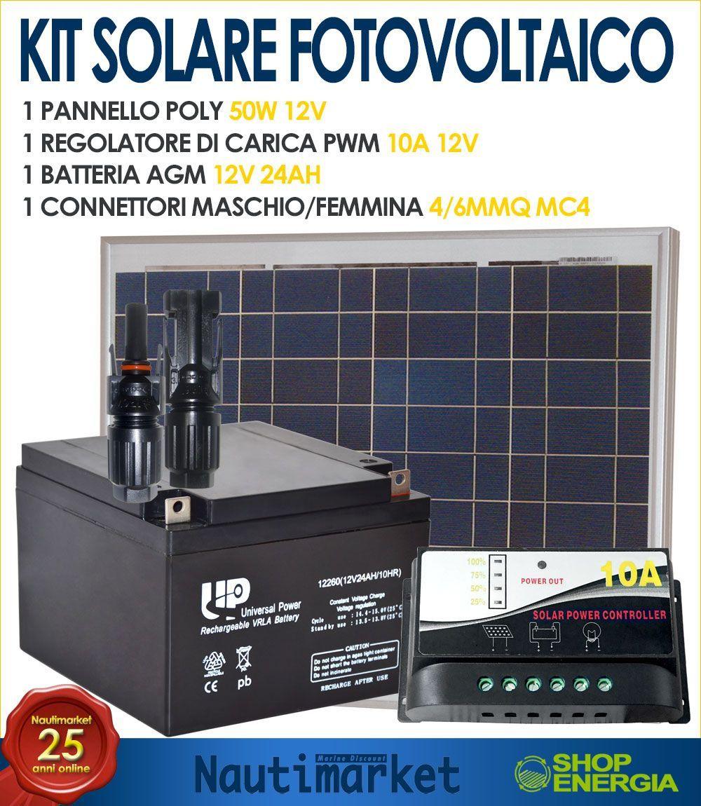 Pannello Solare Per Ricarica Batteria Barca : Kit solare fotovoltaico ideale per la ricarica di batterie