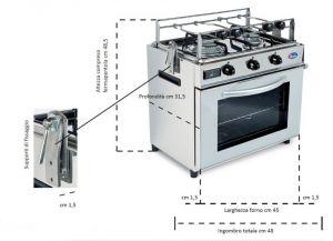 Forno a gas con fornello a 2 fuochi - 19Lt - Codice: 17259015