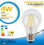 Lampadina LED a Filamento 4W AC85-265V E27 3000K Luce Bianca Calda 440Lm #27561250