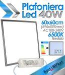 EURTECK Plafoniera Pannello LED Quadrato 60x60cm (595x595mm) 40W 230V 3500 lm 6500K Luce Fredda #27595051