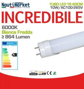 Tubo LED Attacco T8 60cm 10W 6000K Luce Bianca Fredda 864Lm #27560175