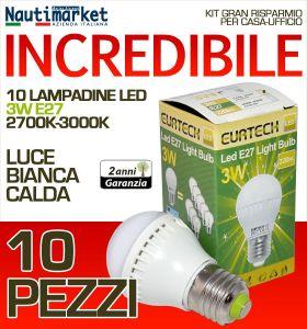 Kit da 10 Lampadine a LED E27 3W 230V 2700K-3000K - Codice: 27561202-10