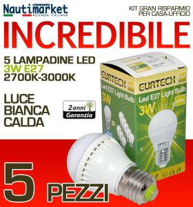 Kit da 5 Lampadine a LED E27 3W 230V 2700K-3000K - Codice: 27561202-5