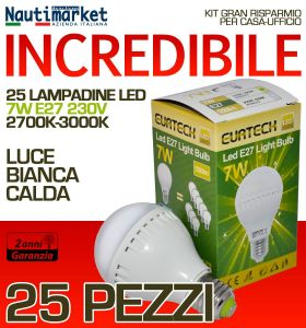 Kit da 25 Lampadine a LED E27 7W 230V 2700K-3000K - Codice: 27561211-25