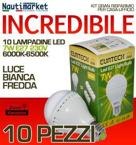 Kit da 10 Lampadine a LED E27 7W 230V 6000K-6500K - Codice: 27561212-10