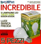 Kit da 5 Lampadine a LED E27 7W 230V 6000K-6500K - Codice: 27561212-5