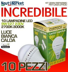 Set 10 Lampadine a LED E27 9W 230V 2700K-3000K - Codice: 27561213-10