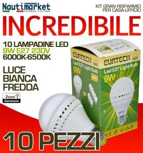 Set da 10 Lampadine a LED E27 9W 230V 6000K-6500K - Codice: 27561214-10