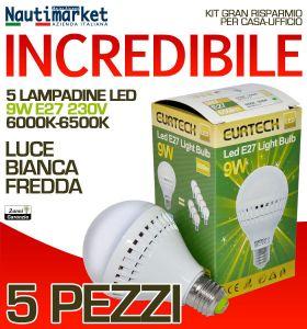 Set da 5 Lampadine a LED E27 9W 230V 6000K-6500K - Codice: 27561214-5