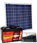 KIT Solare Fotovoltaico 50W 12V Poly + Batteria AGM 100Ah + Regolatore PWM 10A #30200054