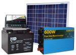Kit Fotovoltaico 12V 50W + Batteria 45A + Inverter 600W + Regolatore PWM 10A #30200059