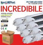 Set of 25 LED tubes T8 150cm 24W/230V - 4000K Day Light - Satin 2500 Lm - Code: 275KIT25X60158