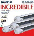 Kit 4 Tubi LED Attacco T8 150cm 24W/230V - 4000K Luce Naturale - Satinato 2500Lm - Codice: 275KIT4X60158