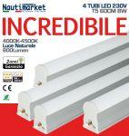 Kit 4 Tubi LED Attacco T5 - 60cm 8W/230V 4500K Luce Naturale - Satinato ≥800 Lm - Codice: 275KIT4X60200
