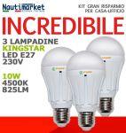 Kit di 3 Lampadine a Led E27-230V 10W Luce Naturale 4500K - Codice: 275KIT4X61010