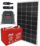 Kit Solare 100W 12V Mono con MPPT 20A Batteria Rolls 128Ah 3500 cicli #30200139