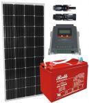 Kit Solare 12V 150W (160W) Mono con MPPT 20A Batteria Rolls 128Ah 3500 cicli #30200173