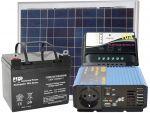 Kit Solare 12V 50W Poly Batteria AGM 24Ah Regolatore PWM 10A Inverter 300/600W #30200086