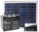 KIT Solare Fotovoltaico 12V 50W Poly + Batteria AGM 24Ah + Regolatore PWM 10A #30200088