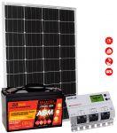 Kit Solare Fotovoltaico 12V 110W Mono Batteria AGM 100Ah Regolatore MPPT 20A #30200179