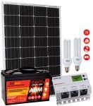 Kit Solare 12V 110W Mono Batteria AGM 100Ah Regolatore MPPT 20A CFL 15W #30200179CFL