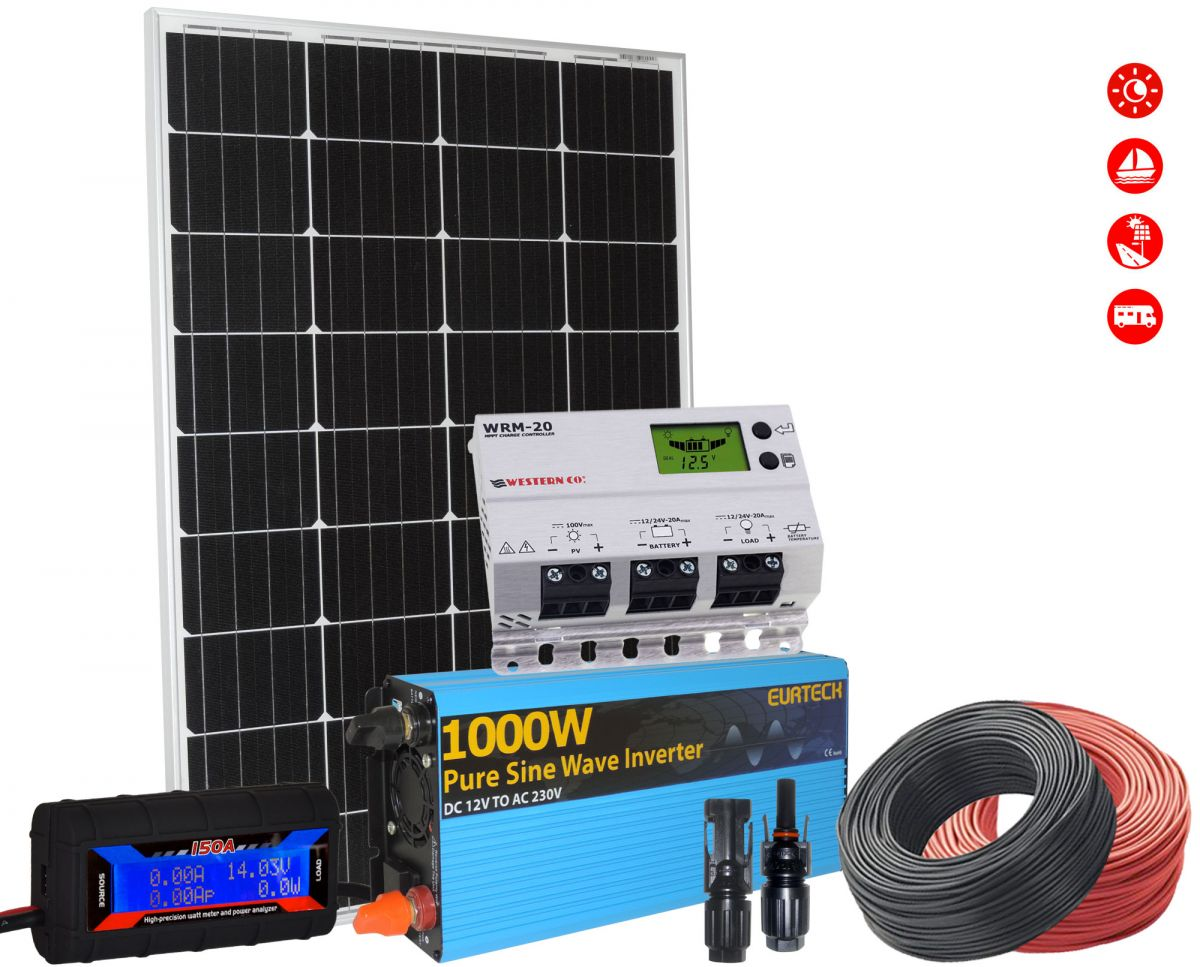 Kit Solare 12V 110W Mono Regolatore 20A Inverter 1000W