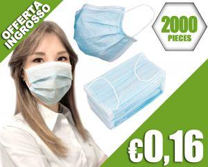 Mascherine Civili Semplici a 3 strati TNT con clip nasale 2000pz #N90056004605-2000