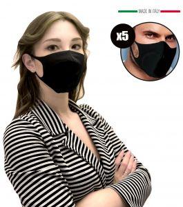 EMFA5 Black Filter Masks for Adults Reusable Washable 5PCS #N90056004590
