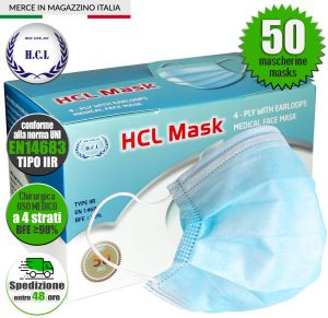 4-layer Medical Face Mask MEDICAL USE Type IIR Standard UNI EN14683 #N90056004505-50