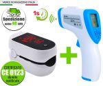 Kit Pulsossimetro Saturimetro iMDK + Termometro Frontale ad infrarossi #N90056004515