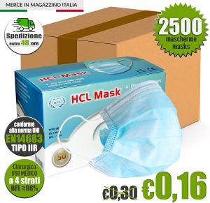 Mascherina Chirurgica HCL MASK USO MEDICO 4 Strati Tipo IIR CE EN14683 #N90056004505-2500