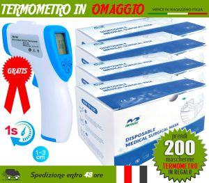 Pacchetto OFFERTA 200 Mascherine chirurgiche + Termometro in OMAGGIO #N90056004514