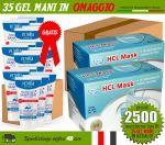 Pacchetto OFFERTA 2500 Mascherine Chirurgiche + 35 Gel Igienizzanti in OMAGGIO #N90056004519
