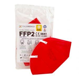 Mascherina FFP2 ROSSA Italiamedica Certificata CE2841 DPI Cat.III Made in EU #N90056004411