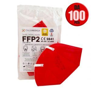Mascherina FFP2 ROSSA Italiamedica Certificata CE2841 DPI Cat.III Made in EU #N90056004411-100