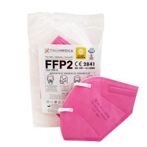 Mascherina FFP2 ROSA Italiamedica Certificata CE2841 DPI Cat.III Made in EU #N90056004412