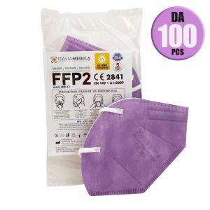 Mascherina FFP2 LILLA Italiamedica Certificata CE2841 DPI Cat.III Made in EU #N90056004413-100