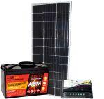 KIT Solare Fotovoltaico 12V 100W Mono Batteria AGM 100Ah Regolatore PWM 10A