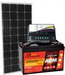 KIT Solare Fotovoltaico 12V 150W (160W) Mono + Batteria AGM 100Ah + Regolatore PWM 10A