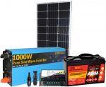Pannello Solare 12V 100W Regolatore 10A Batteria 100Ah Inverter 1000W MC4 Cabur